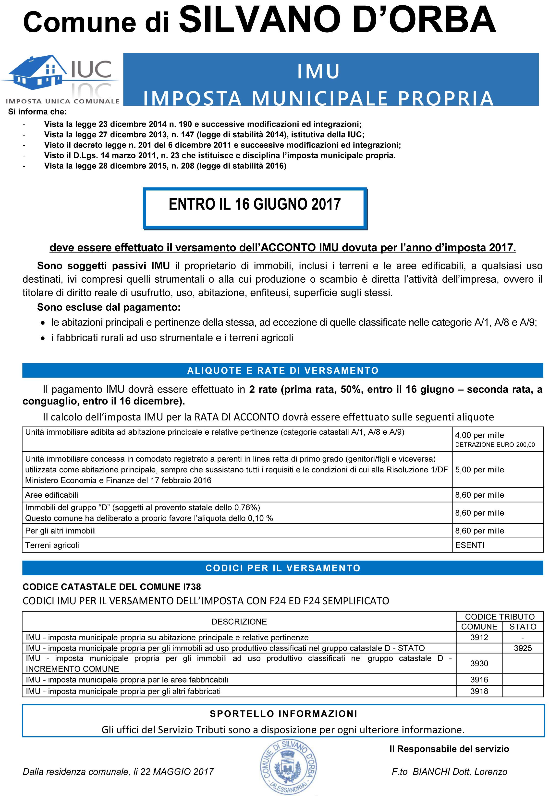 Ufficio tributi imu tasi comune di silvano d 39 orba for Aliquote iva in vigore 2017