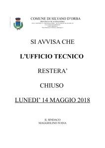 CHIUSURA UFFICIO TECNICO